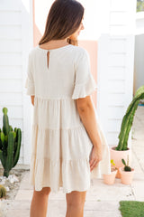 ASHTON LINEN DRESS - OATMEAL