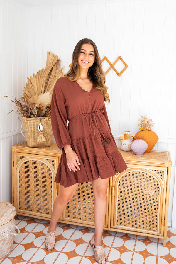 VIVIENNE DRESS - CHOCOLATE