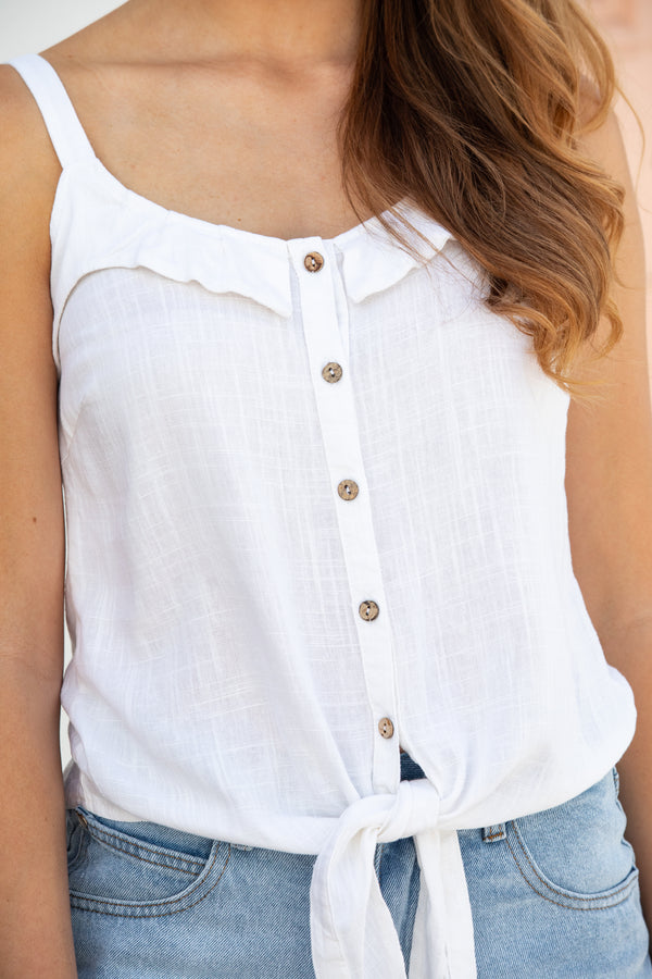 SORRENTO LINEN TOP - WHITE