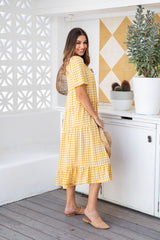 BREE MIDI DRESS - YELLOW GINGHAM
