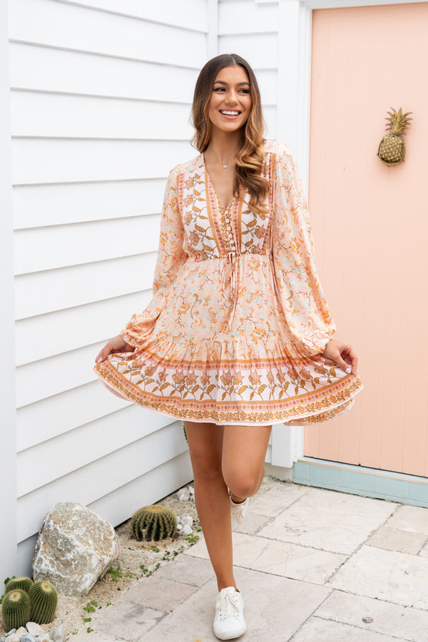 GRACIE BOHO DRESS - PEACH