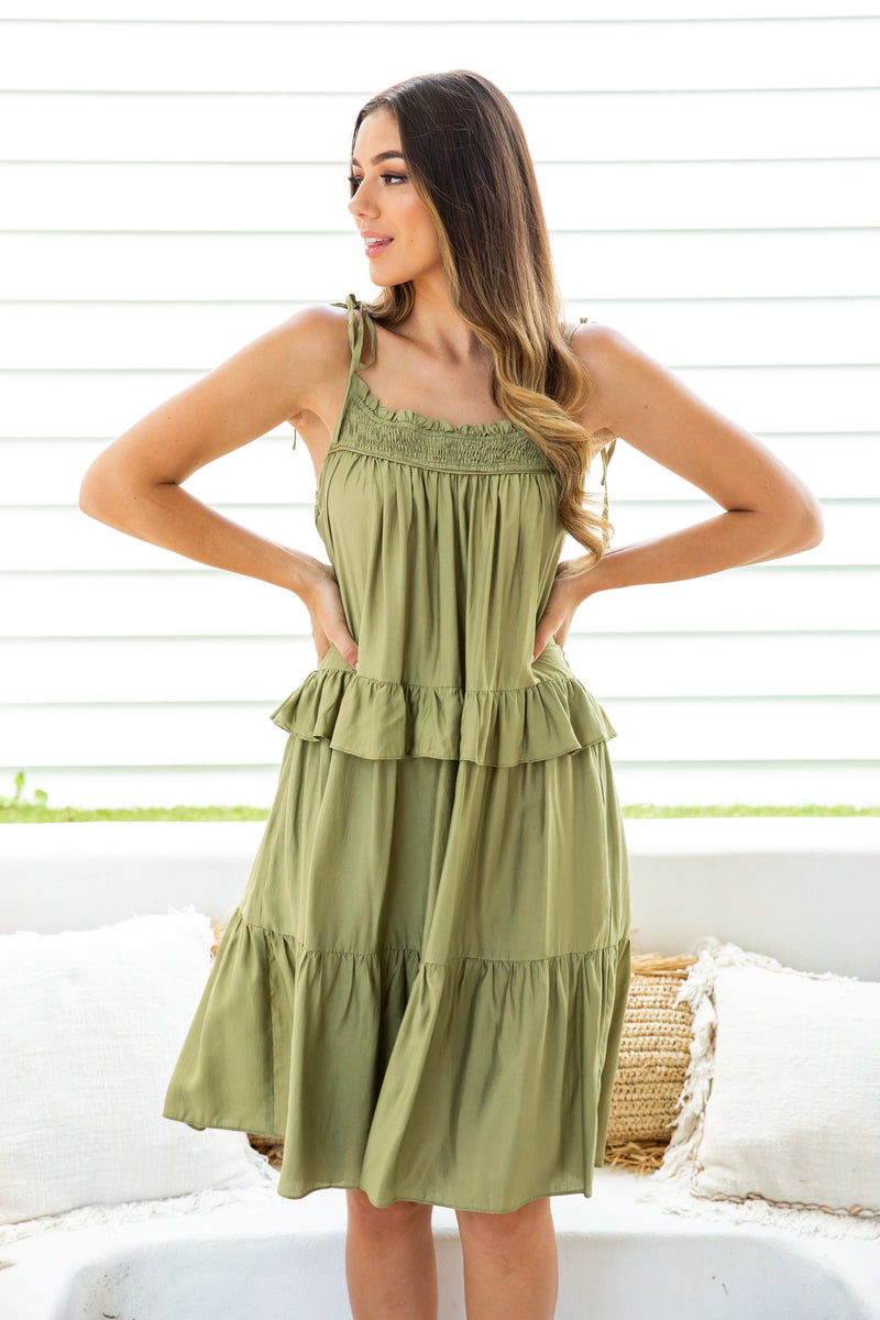 KYLEIGH MIDI DRESS - PISTACHIO