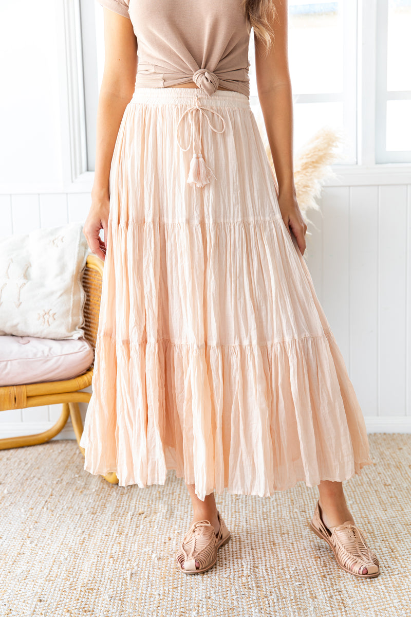 MYRA CRINKLE SKIRT - BLUSH