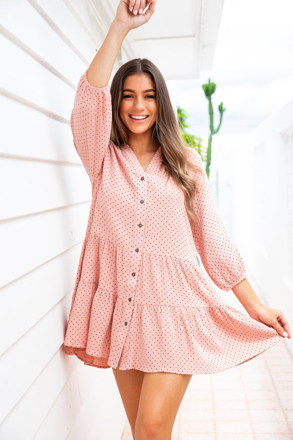 JAMES DRESS - MUSK PINK POLKA