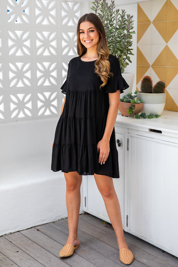 ASHTON LINEN DRESS - BLACK