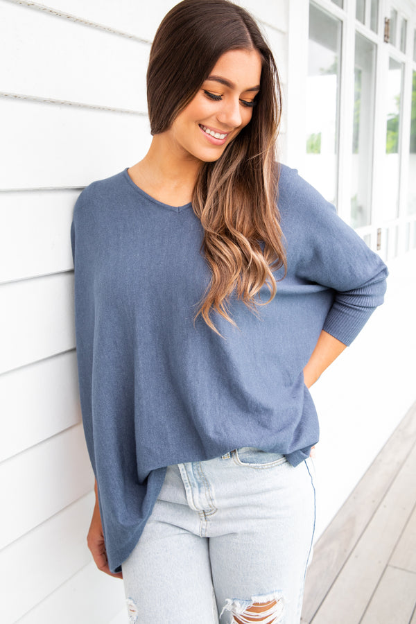 ASHLYN KNIT - DENIM BLUE - The Self Styler