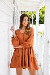 LAUREN TIER DRESS - TAN