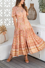 ALLIE BOHO MAXI DRESS - PEACH PAISLEY