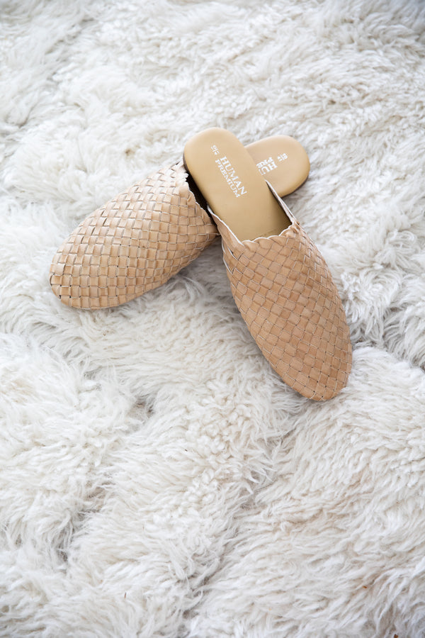 BARLAND WOVEN LEATHER SLIDES- NATURAL