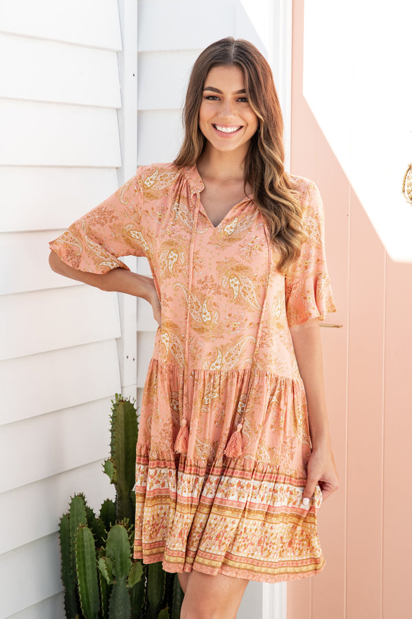 RIVER BOHO DRESS - PEACH PAISLEY