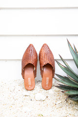 MOJO WOVEN LEATHER SLIDES - CHOC