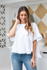 FINN BOHO LINEN TOP - WHITE