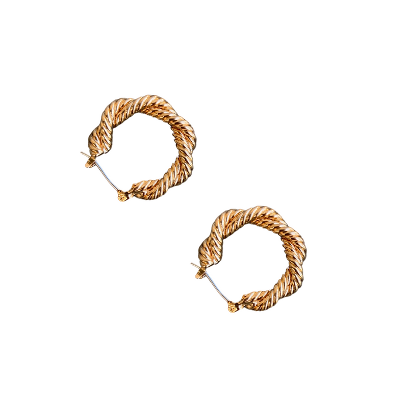 RAINE ROPE TWIST HOOPS - GOLD