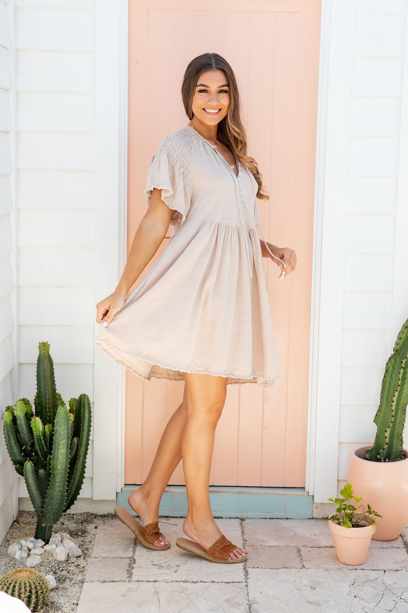 SASHA DRESS - OATMEAL