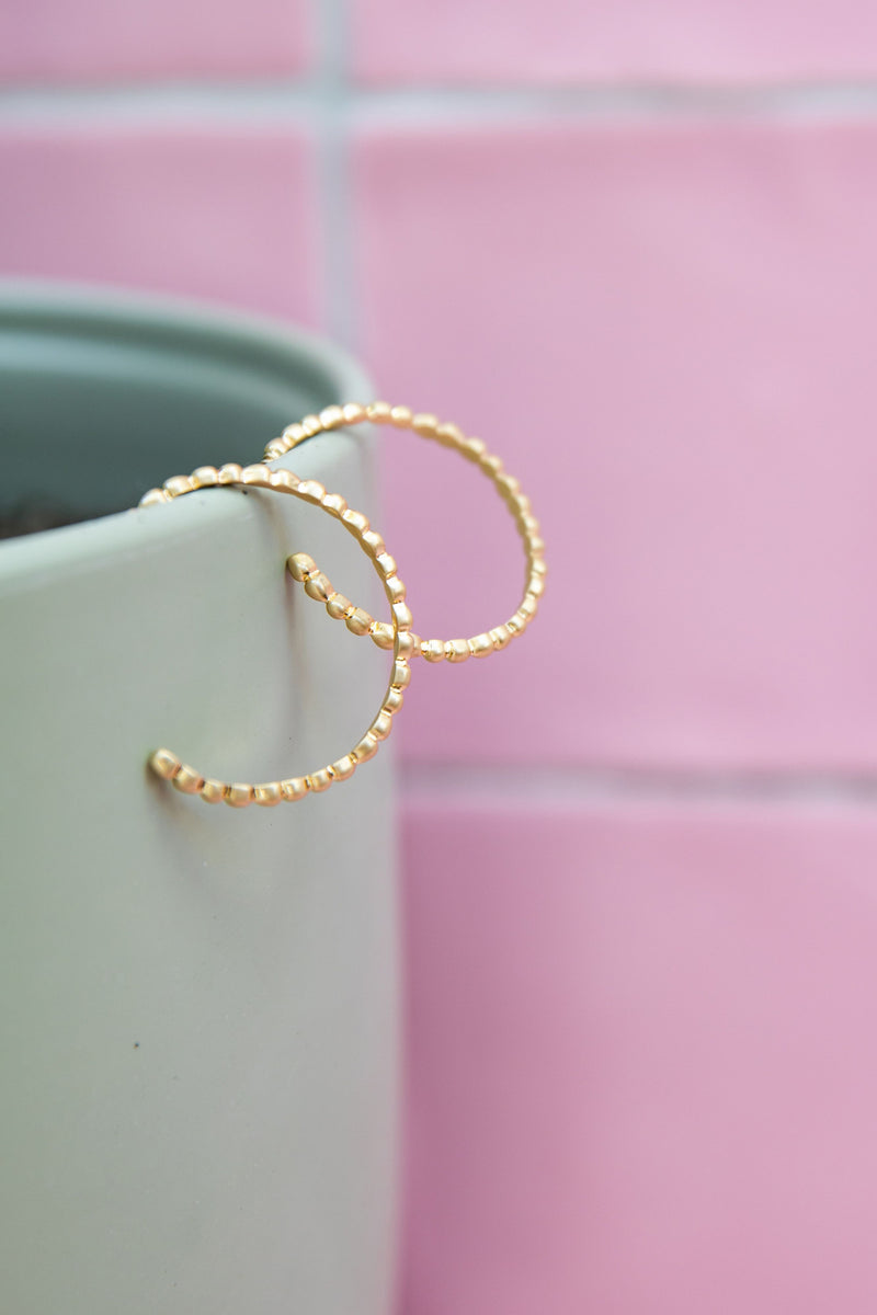 NORA BEADED GOLD HOOPS