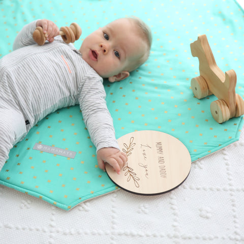 Baby Play Mat in Teal Gold X's