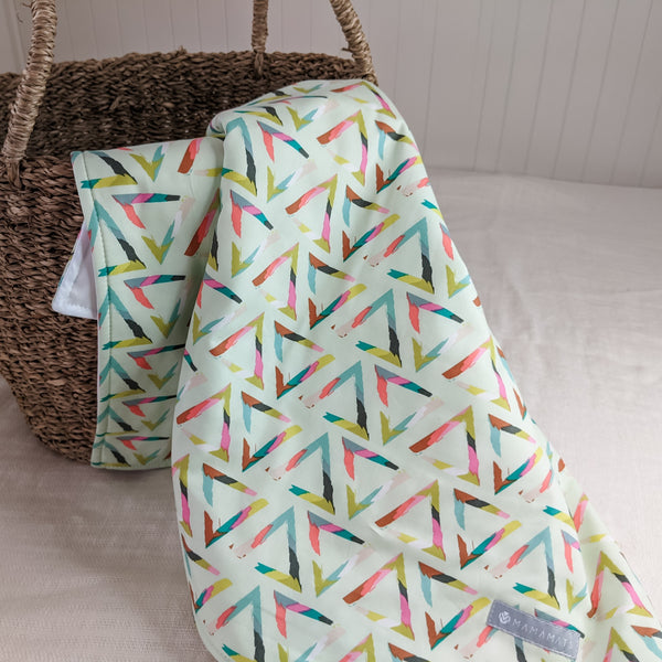 Portable Baby Change Mat - Mint Triangle