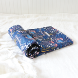 Portable Baby Change Mat - Organic - Navy Botanical