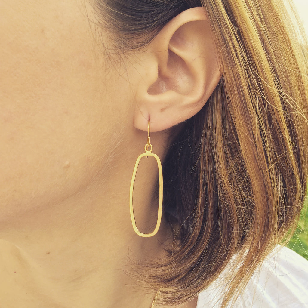 thin hammered rectangle earrings in vermeil