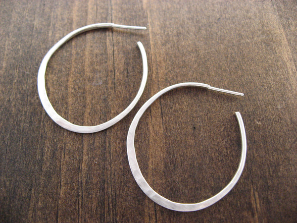 large thin silver hammered hoops
