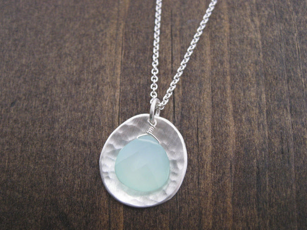 chalcedony and hammered silver necklace