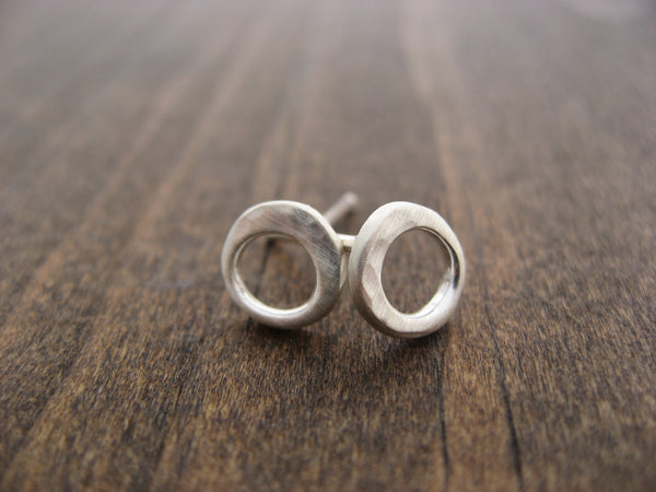 small hammered circle studs
