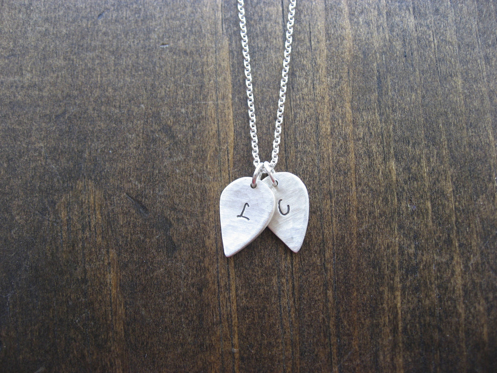 double leaf initial necklace