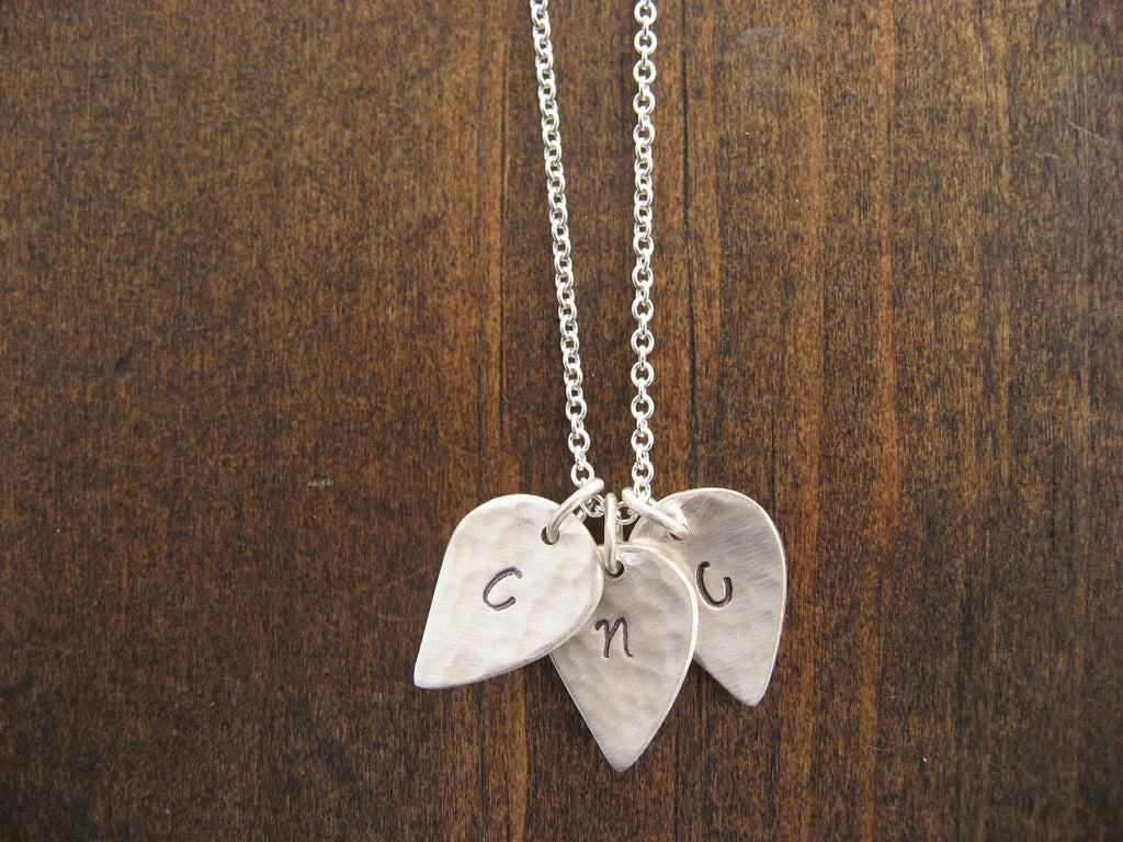 three leaf initial necklace
