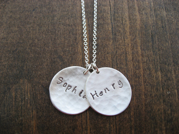 two circles name necklace