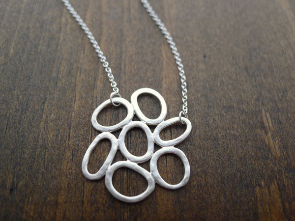 hammered silver cluster necklace