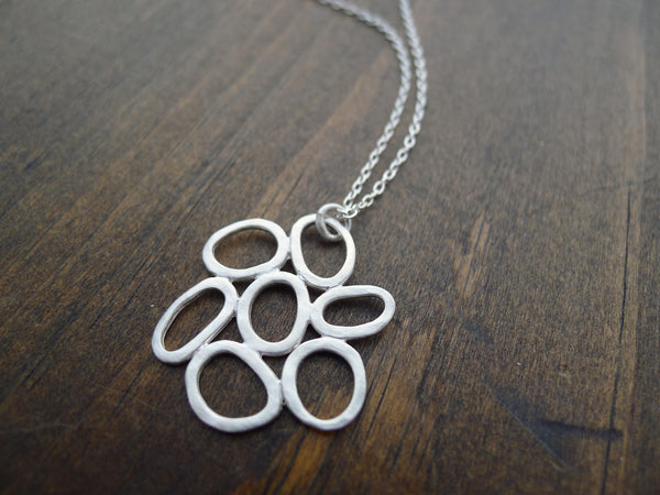 long hammered silver cluster necklace