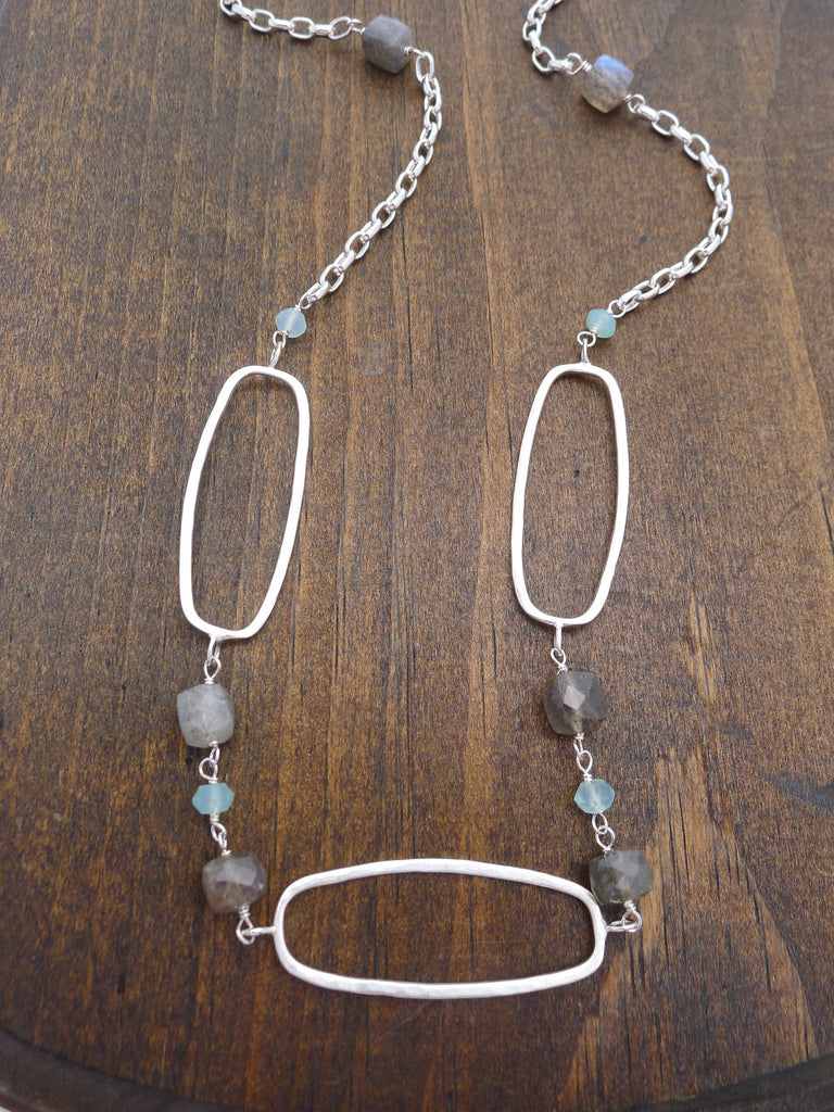 long chalcedony and labradorite necklace