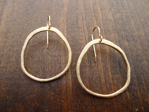 large hammered circle earrings in vermeil