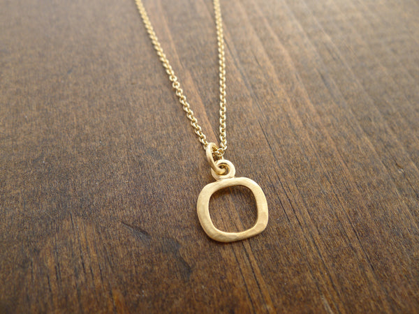 small square in vermeil necklace