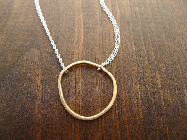 large organic circle necklace in vermeil and silver
