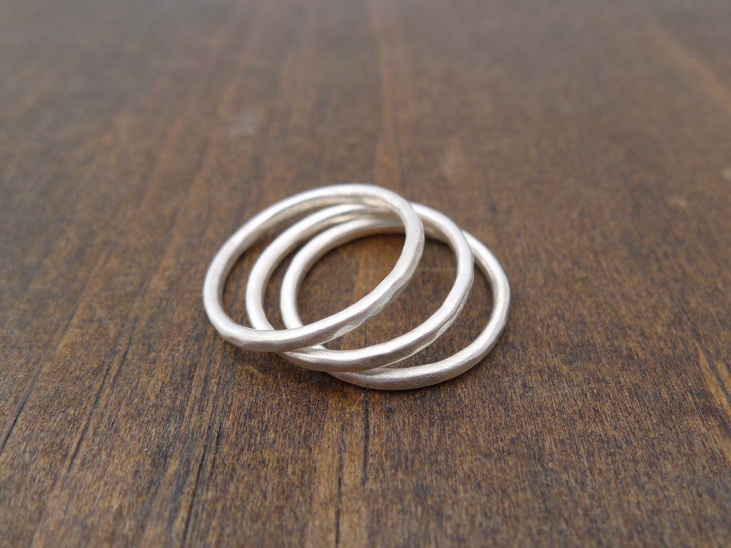 silver stacking rings - Set of 3