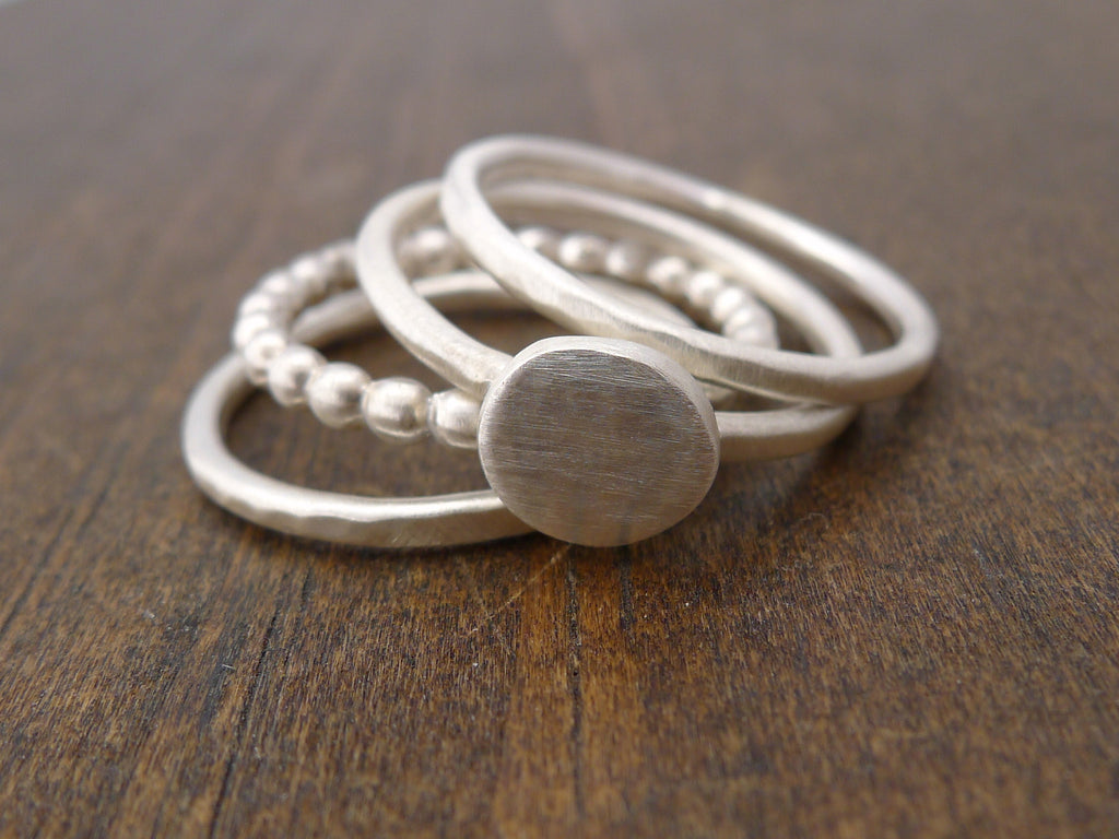 mixed stacking rings with our circle dot ring
