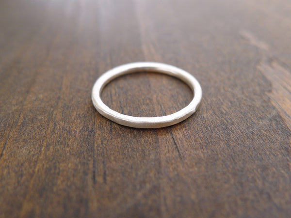 single hammered silver ring band