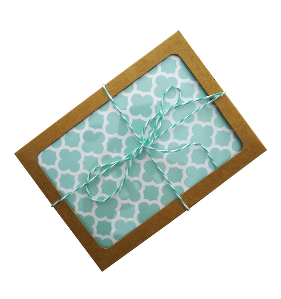 aqua quatrefoil card set