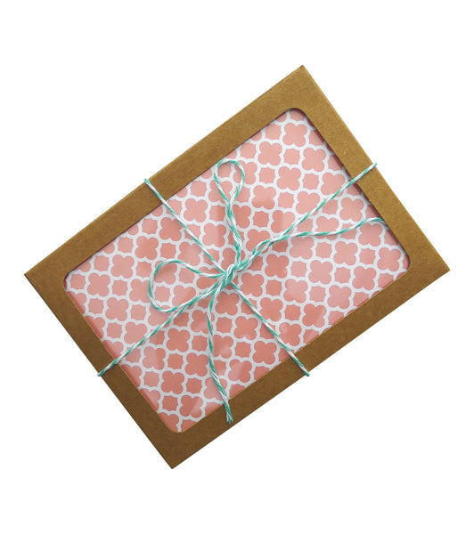 peach quatrefoil card set