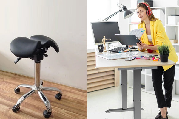 Combo of CE Certified Single Motor 2-Stage Standing Desk Frame with Ergonomic Adjustable Rolling Active Chair, (RT114+R4008)
