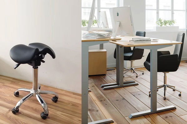Combo of Conset (Denmark) 501-33 Electric Height Adjustable Desk with Ergonomic Adjustable Rolling Active Chair, (501-33+R4008)