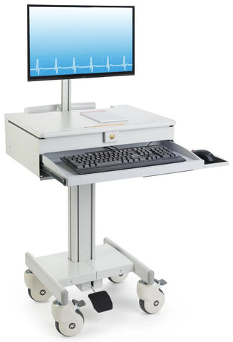 "Computer Medical Cart, for 15""-27"" Screens, Height Adjustable, Lockable Drawers, Gray (HSC-DM)"