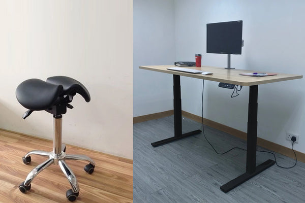 Combo of Dual Motor Electric Sit to Stand Workstation with Ergonomic Adjustable Rolling Active Chair, (DM8+R4008)