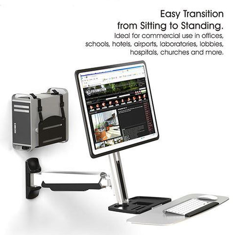 Sit Stand Wall Mount Workstation and Standup Computer Station with Articulating Keyboard Tray Arm and CPU Holder RW-W1