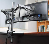Dual Monitor Mount, Two Heavy Duty Full Motion Adjustable Arms Fit 2 Computer Screens 17 19 20 21 22 24 27 Inch, VESA 75 or 100mm, C-Clamp Base, Black (EC2)