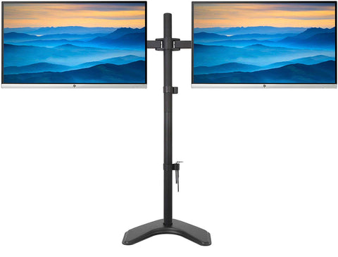 Fully Adjustable Extra Tall Dual LCD Monitor Desk Mount, Fits 2 Screen up to 27 inch, Weight up to 10 kg per arm, Black (EC2L)