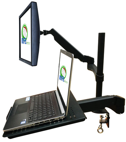 "Rife Dual Arm Monitor & Laptop Mount - Heitgh and Angle Adjustment, 18"" Pole, (NA-G DC)"