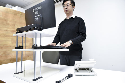 Adjustable Sit to Stand Standing Desk On Top Of Your Existing Desk (Dual Shelf)