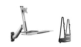 Sit Stand Wall Mount Workstation and Standup Computer Station with Articulating Keyboard Tray Arm and CPU Holder, (RW-W1)